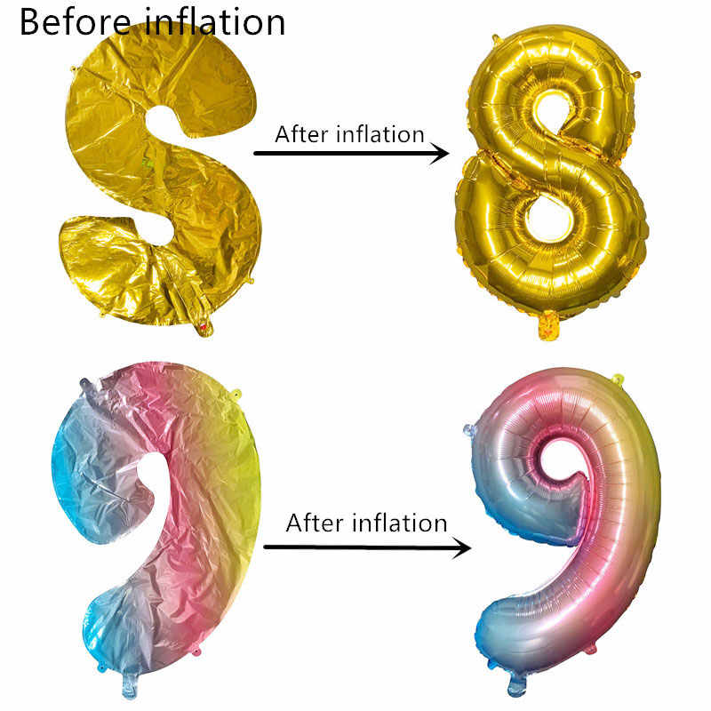 40 Inch Big Foil Birthday Balloons Helium Number Balloons Happy Birthday Party Decorations Kids Adult Figures Wedding Air Globos