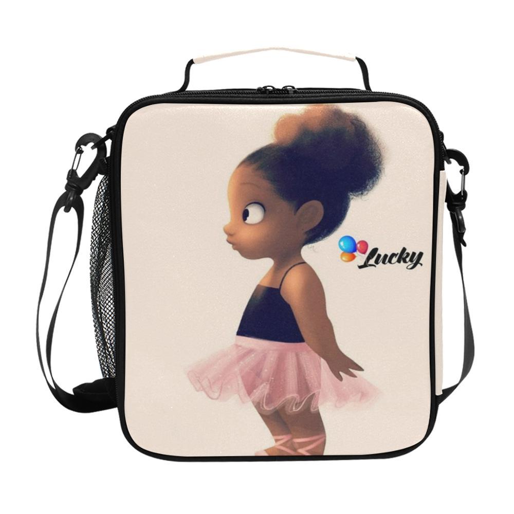 Bolsa de Almoço dos Desenhos Bolsas de Piquenique Portátil para a Escola Arte Americana Preto Meninas Animados Comida Térmica Crianças Meninos Almoço Refrigerador Caixa Tote