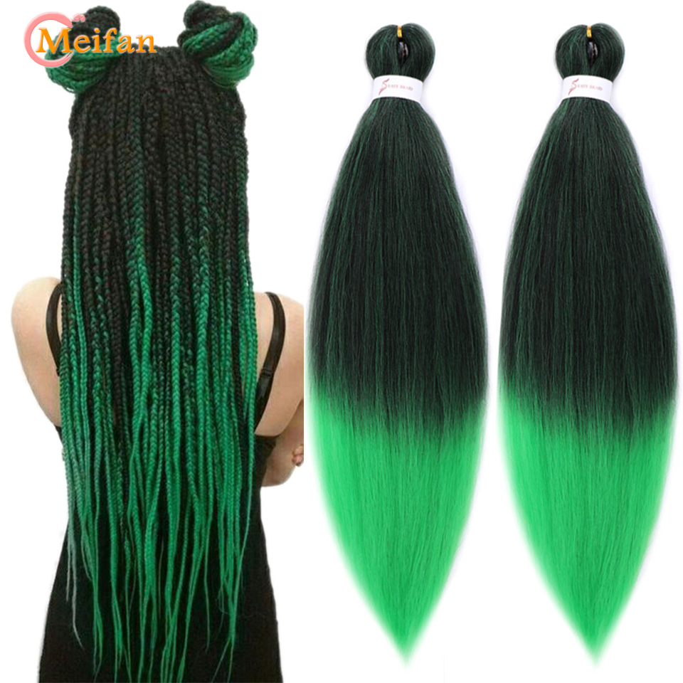MEIFAN 26Inch 100g Yaki Straight Synthetic Hair Extension Pre Stretched Crochet Kanekalon Jumbo Easy Braids For Braiding Hair
