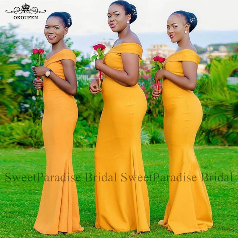 Gold Yellow Bridesmaid Dresses For Women Long Mermaid Off Shoulder Wholesale Price Party Wedding Guest Dress Vestidos De Festa