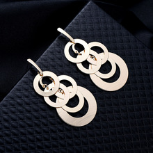 NJ 2019 Trendy Small Rings Cool Drop Earrings Geometric Gold Silver Party Jewelry Pendant Long For Woman