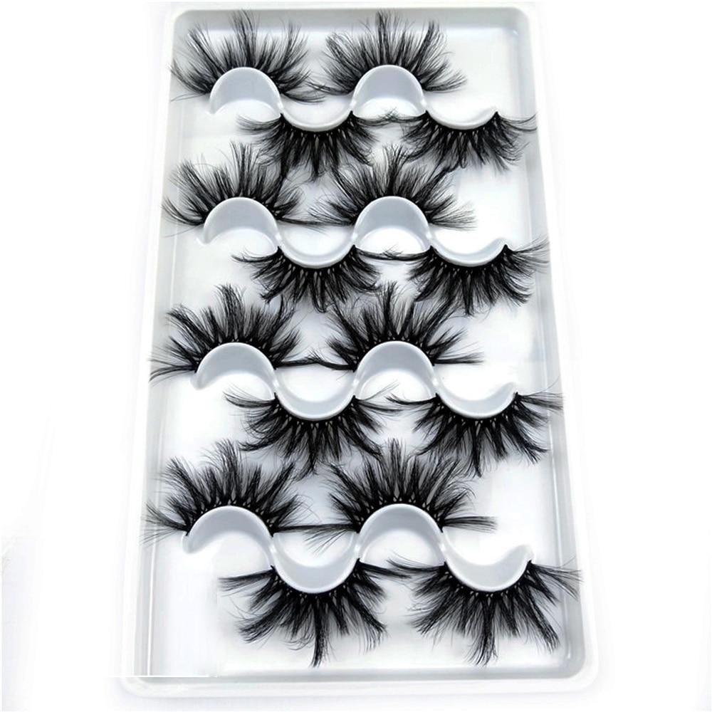 8 Pairs 25mm Mink Eyelashes 8D Mink False Lashes Multilayered Dramatic Long Wispies Fluffy Handmade Eyelash Eye Lashes Makeup