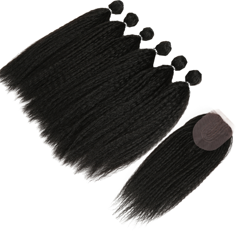 Afro Kinky Straight Hair For Black Women Weave 6Bundles With Closure Black Synthetic Hair Extension 7pcs/Lot 16inch Classic Plus