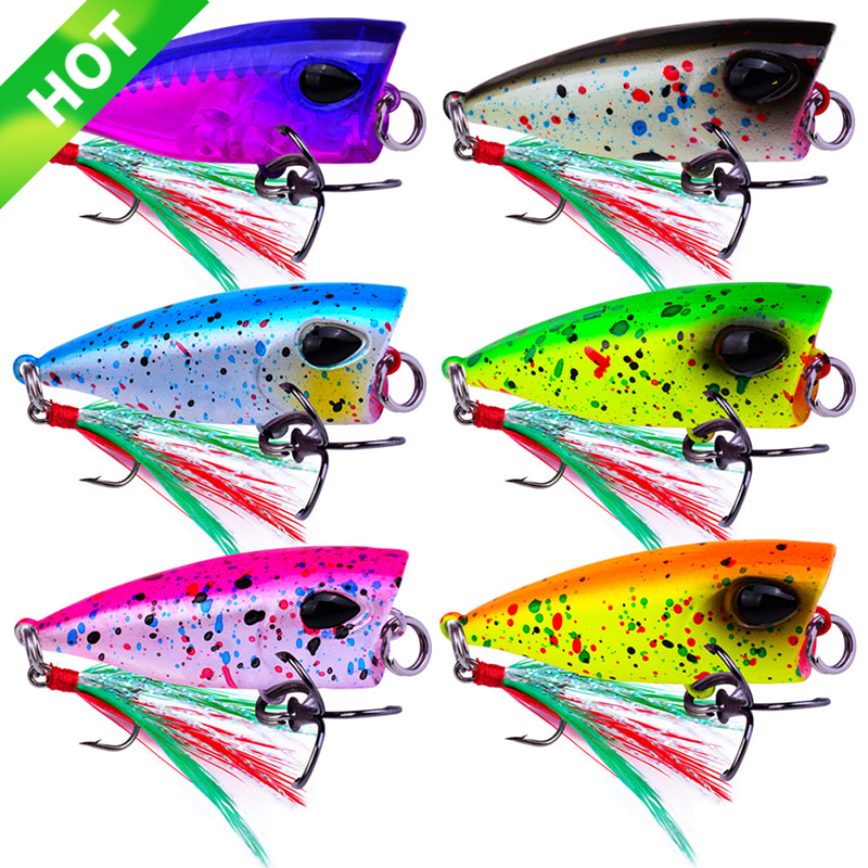 Mini Popper Lure Trout Lures Ultralight Fishing Lure Topwater Bait Finesse Crankbait Wobbler Minnow Isca Poper Pesca 4.3cm/4g image