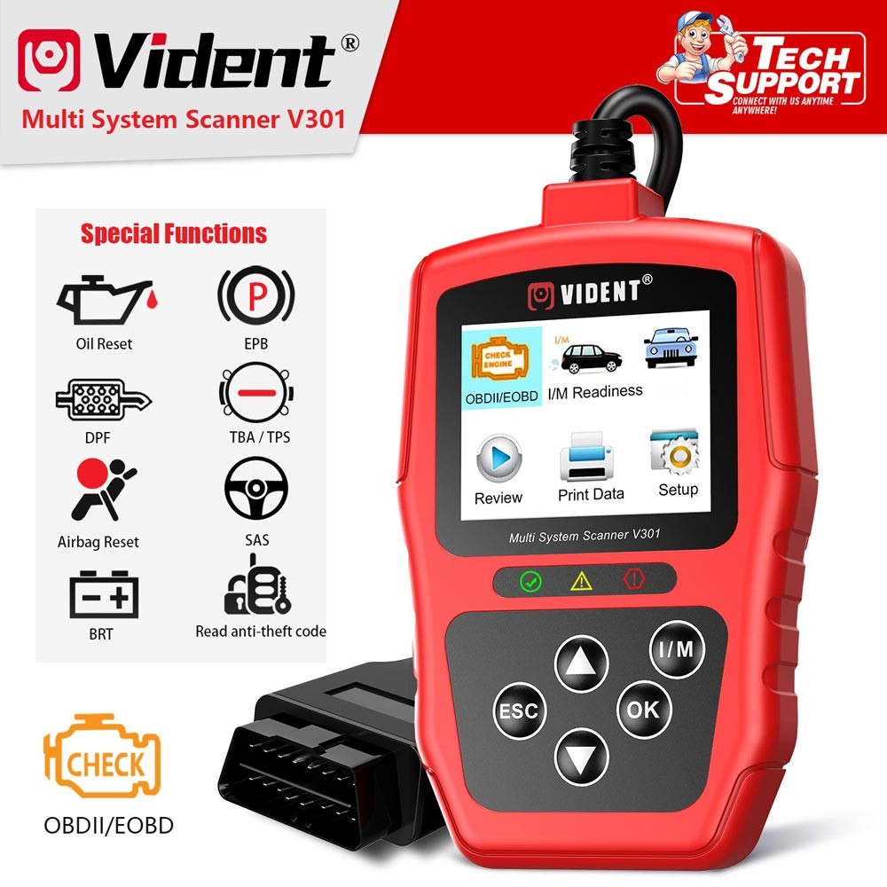 Vident For V-A-G V301 Full System OBD2 Scanner For V-W /Audi /Skoda /Seat Car Diagnostic Tool With SAS EPB DPF Oil Battery Reset
