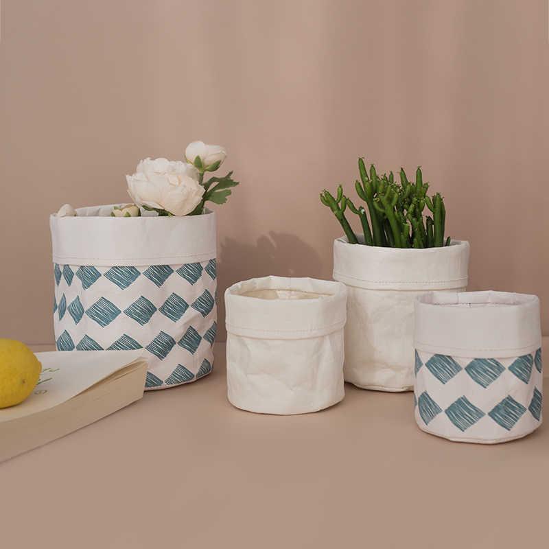 Plant Pot Jas Kraftpapier Bloempot Cover Waterdichte Multifunctionele Mand Cosmetische Bag Herbruikbare Voor Home Decor Tuin Bin
