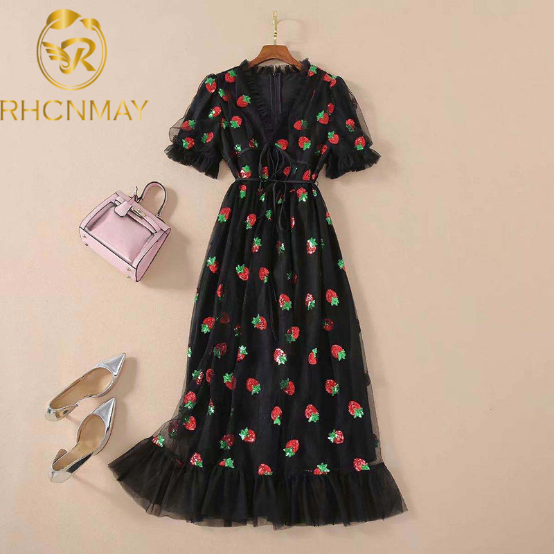 Summer High Quality New Women'S Dress Fashion Party Casual Glitter Strawberry Vintage Elegant Chic Mesh V-Neck Midi Dress