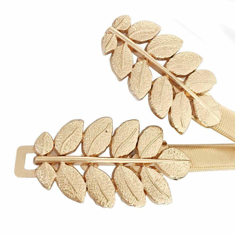 Gold Silber Elastische Gürtel Für Frauen, Blume, Blatt Damen Taille Gürtel Für Kleider Stretch Dünne Metall Weibliche Gürtel elastische riem