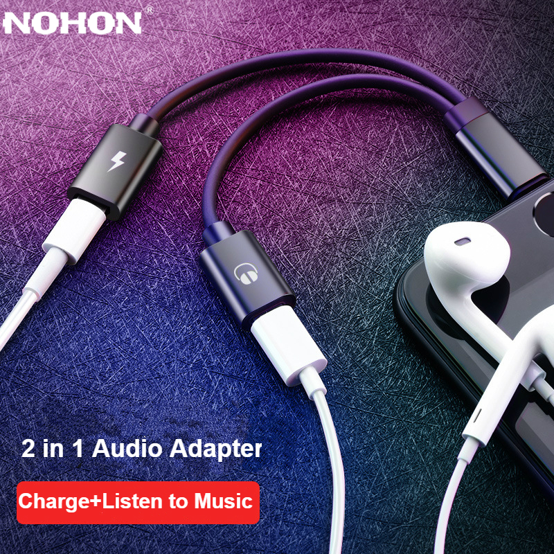 Nohon 2 In 1 Spliter Audio Headphone Jack Adapter Cable For IPhone 11 Pro Max XS XR X 3.5mm Earphone Lightning Charging Adaptor