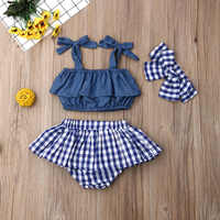 Conjunto de ropa para bebé niña, Top corto con volantes, minifalda a cuadros, diadema, 3 uds.