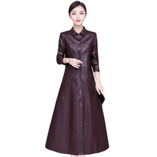 Womens Leather Jacket Plus Size 5XL 2019 X-Long Women Fashion Single Breasted Faux Trench Coat