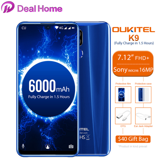 "Oukitel K9 7.12 ""אנדרואיד 9.0 MTK6757 אוקטה Core 2.3GHz Smartphone טביעות אצבע 6000mAh 1080*2244 16MP + 2MP/8MP הסלולר"