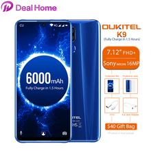 "Oukitel K9 7.12 ""Android 9,0 MTK6757 Octa Core 2,3 GHz Smartphone Fingerprint 6000mAh 1080*2244 16MP + 2MP/8MP handy"