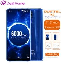 "Oukitel K9 7,12 ""Android 9,0 MTK6757 Octa Core 2,3 ГГц смартфон сл сканером отпечатков пальцев 6000 мАч 1080*2244 16MP + 2MP/8MP мобильного телефона"