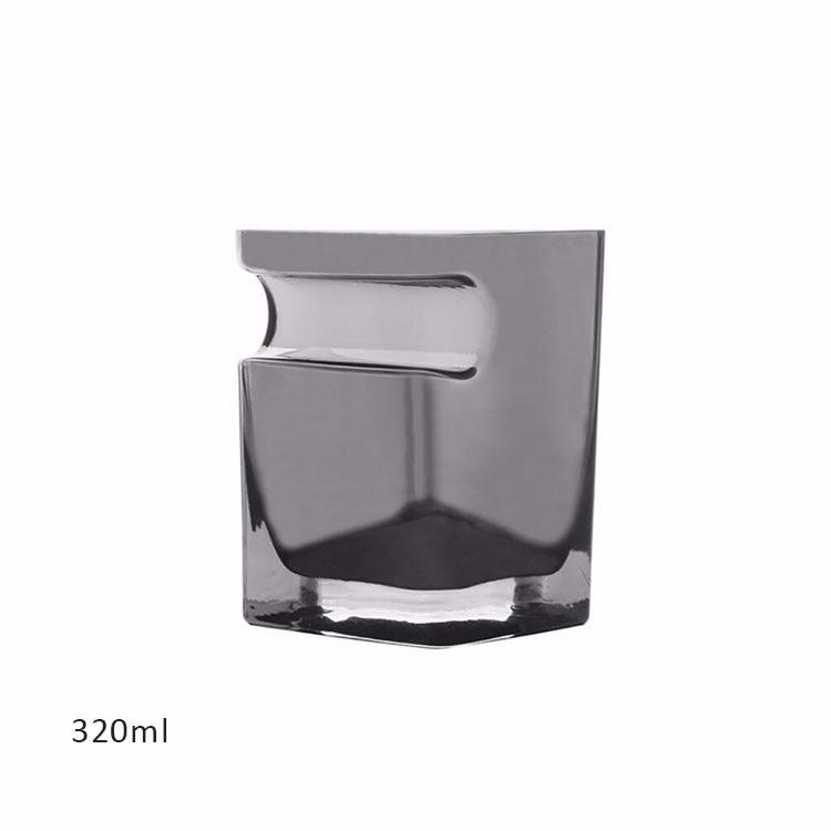 1 шт. с пазами для сигарет чашки для сигар бессвинцовый прозрачный стакан для пива домашнее Вино тумблер для виски утолщенное стекло круглая кружка для напитков - Цвет: Clear Black