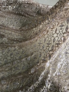 Image 3 - fashionable JIANXI.C 91107 african lace fabric with glued glitter sequins French tulle lace fabric