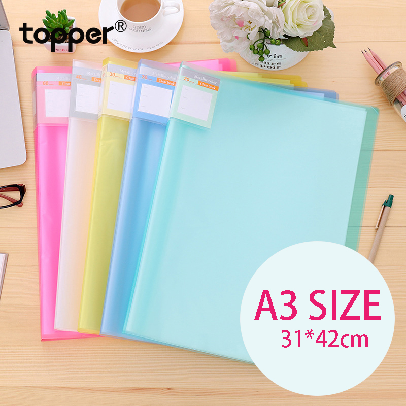 A3 Displaybook Transparent Information Book 8K Blueprint Book 8 Open Folder Transparent Insert Folder Storage 20 30 40 60 Pages