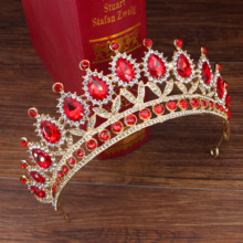 Wedding Bridal Tiara Crown Queen Bride Gold Red Crystal Diadem Hair Ornaments Head Jewelry Accessories Women Pageant Headpiece red crystal wedding crown queen tiara bride crown headband bridal accessories diadem mariage hair jewelry ornaments