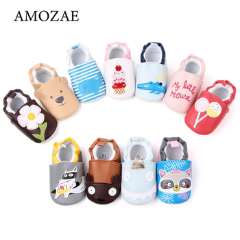 Baby Boys Girl All Seasons Shoes Cartoon Pattern PU Leather Unisex Non-slip Breathable Soft Bottom Toddler