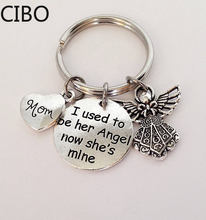 2019 New I Used To Be Her His Angel Charms Key Ring Mom Dad Memorial Keychain Mother Father Gift(China)