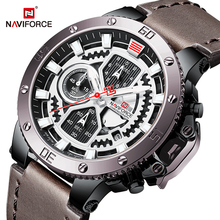 NAVIFORCE Luxury Business Mens Watches Military Sport Chronograph Quartz Wristwatch 3ATM Waterproof Clock Male Relogio Masculino baogela men s leisure quartz watches fashion clock leather strap analogue wristwatch relogios masculino 3atm waterproof bl1808