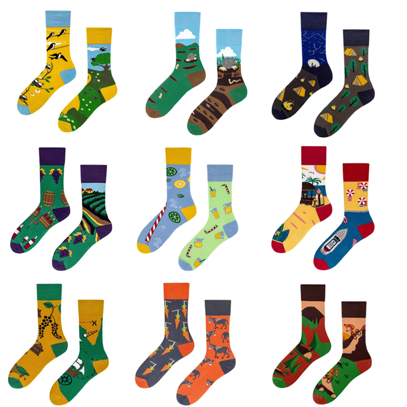 Fashion Print Animal Men's Socks Asymmetry Cotton Long Socks Women Hip Hop Funny Socks Unisex Casual Sock Calcetines Hombre