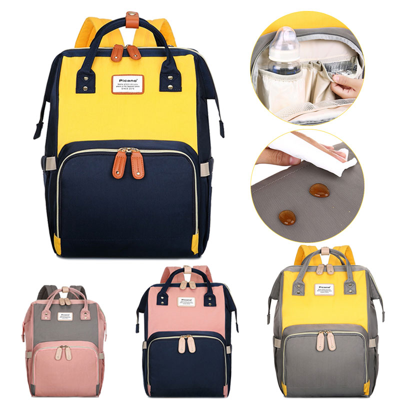 Maternity Bag Diaper Bags Patchwork Mummy Bag Large Capacity Baby Nappy Bags Travel Backpack Nursing Bag For Baby Care Stroller