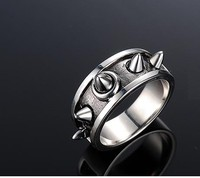 925 silver men's ring domineering fashion Japanese and Korean version of personalized self defense ring custom