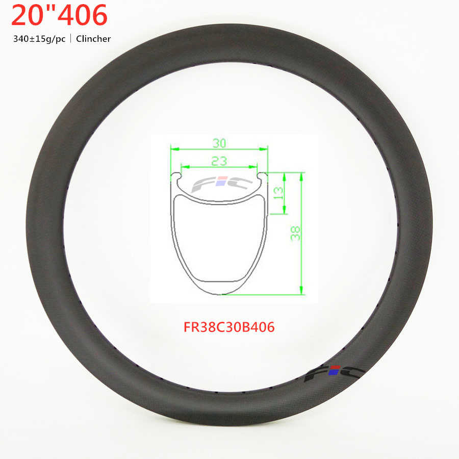 "FIC 30mm de large 20 pouces 406 jante 20 ""jante carbone 30mm 38mm 50mm UD 3K 12K finition armure 28h 36h BMX racing jantes à pneu"