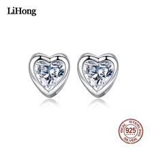 цена на Fashion Silver Stud Earrings Women Korean Version Personality Heart Shape Zirconium-Inlaid Stud Earrings Charm Jewelry Female