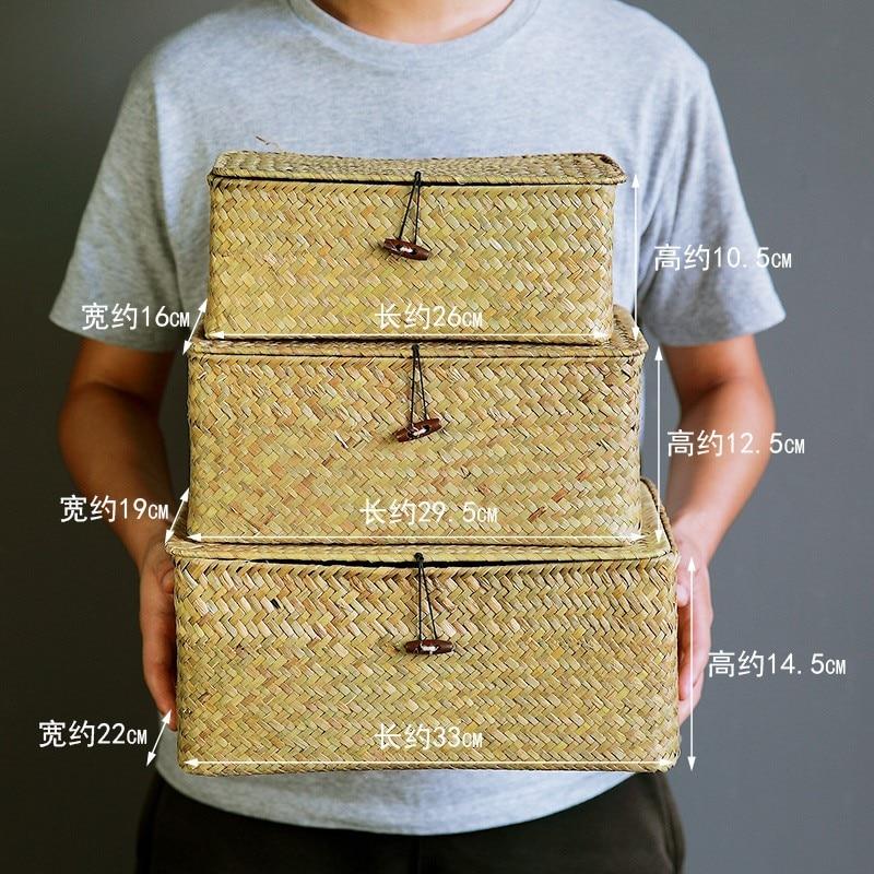Купить с кэшбэком WHISM Handmade Straw Woven Storage Basket with Lid Makeup Organizer Storage Box Seagrass Laundry Baskets Rattan Jewelry Box