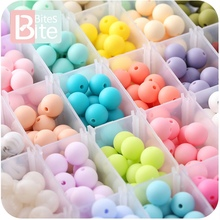 bite bites 15mm 30pc Silicone Beads Food Grade Baby Teething Products Chews Pacifier Chain Clips Teether Toy