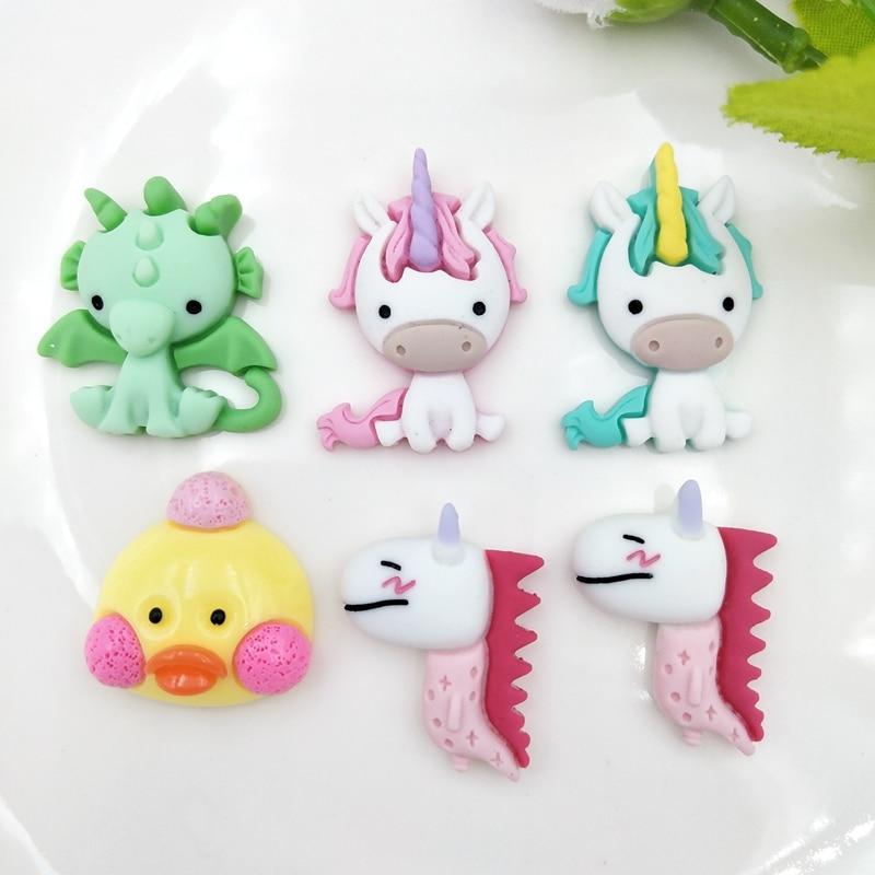 10Pcs Kawaii Cute Mixed Unicorn / Dinosaur Flat Back Resin Cabochons Scrapbooking DIY Jewelry Craft Decoration Accessories