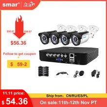 Smar 4CH 1080N 5 в 1 AHD DVR комплект видеонаблюдения Системы 4 & 2 шт. 720P/1080P IR AHD Camera на открытом воздухе Водонепроницаемый видеонаблюдения XMeye