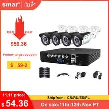 Smar 4CH 1080N 5で1 ahd dvrキットcctvシステム4 & 2個720p/1080p ir ahdカメラ屋外防水セキュリティ監視セットxmeye