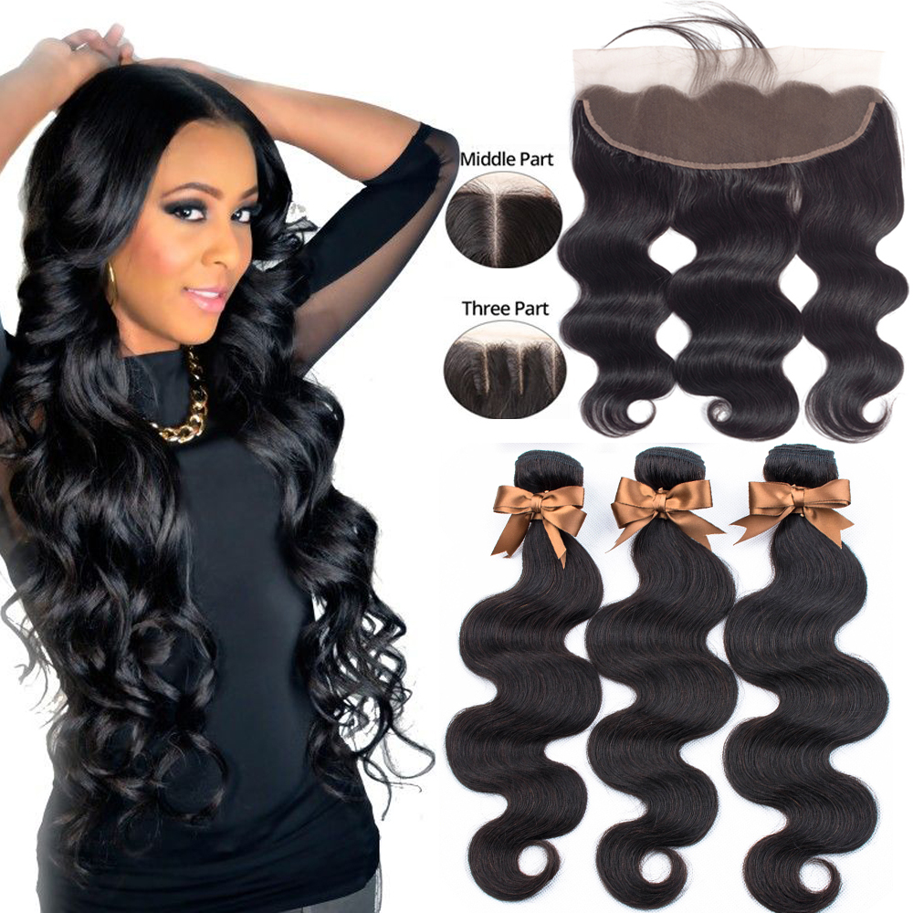 Beaudiva Brazilian Body Wave 3 Bundles With Frontal Human Hair Weave Bundles Lace Frontal With Bundles Human Hair Extension