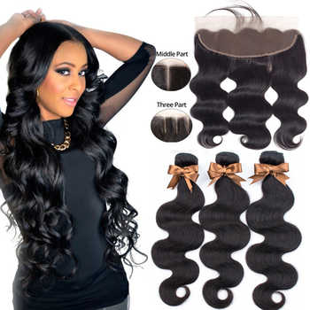 Beaudiva Brazilian Body Wave 3 Bundles With Frontal Human Hair Weave Bundles Lace Frontal With Bundles Human Hair Extension - DISCOUNT ITEM  54% OFF All Category