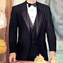 Czarny smokingi dla pana młodego na ślub 3 sztuka palenia elegancki facet garnitury Slim fit męskie komplet garniturów kurtka z spodnie kamizelka modny kostium