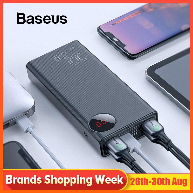 Baseus 30000mAh batterie externe USB type C PD 3.0 Charge rapide Charge rapide 3.0 Powerbank pour iPhone Xiaomi chargeur de batterie externe