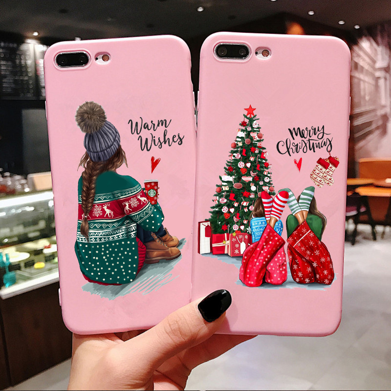 New Year Christmas Santa Claus snow deer Pink Silicone Candy <font><b>Case</b></font> Coque For <font><b>iPhone</b></font> 11 Pro Max 2019 Xs 6S 7 <font><b>8</b></font> <font><b>Plus</b></font> X XS Max XR image