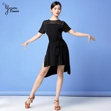 2020 латинский танец платье для взрослых женщин талии кружева до современной одежды танца практике одежда Женщина с коротким рукавом