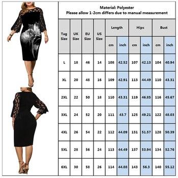 L-6XL Women Plus Size Dress Elegant Ladies Black Sheer Lace Sleeve Dress 2020 Chic Casual Printed Lace Evening Party Dresses D25 4