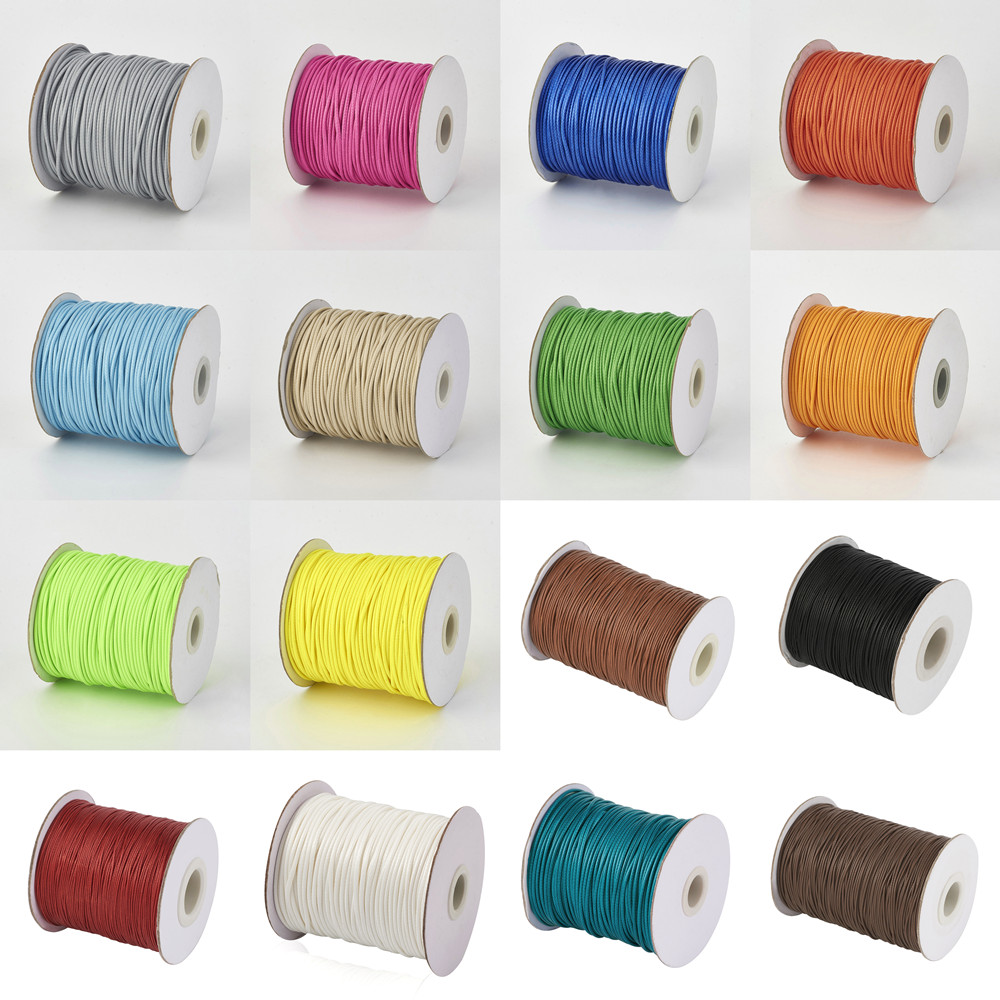 Korean Waxed Polyester Cord Black 0.5mm 1mm 1.5mm 2mm 3mm Jewelry Findings for DIY Bracelets Necklaces Red White Tan 38 Colors(China)
