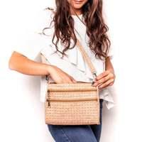 Natural cork with White grid Weaving cork body cross women zipper bag BAG 161 C