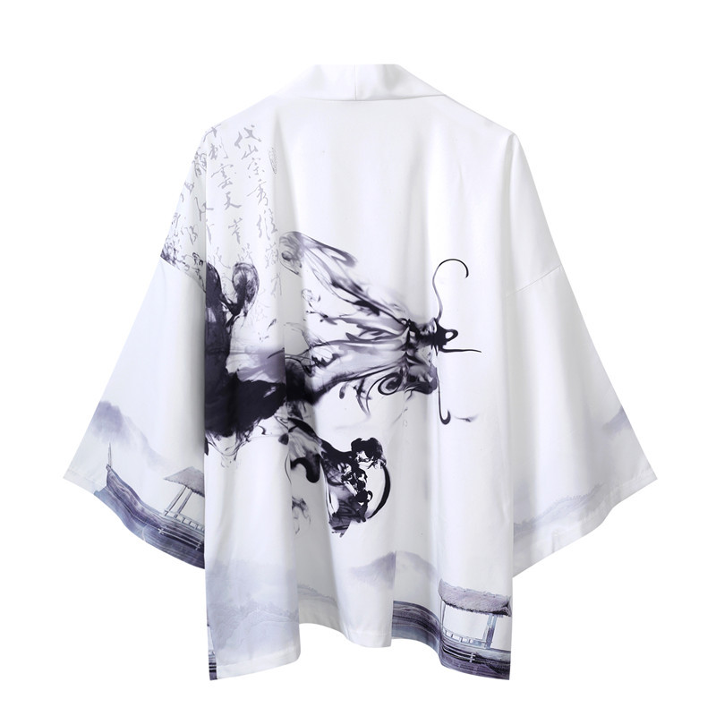 Chinese Ink Painting Kimono Cardigan Men Japanese Obi Male Yukata Men's Haori  Traditional Japanese Clothing