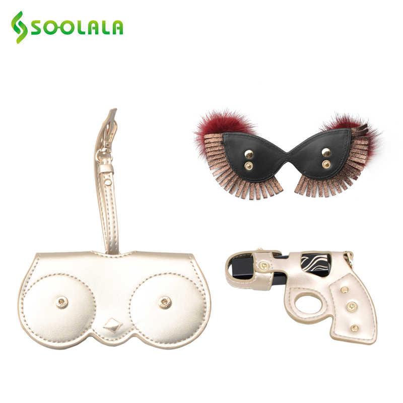 Soolala estojo de óculos de sol feminino, estojo removível de couro pu para óculos de coruja