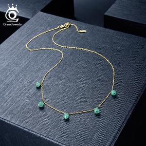 Image 3 - ORSA جواهر 100% ريال 925 المرأة الحجر الطبيعي قلادة قلادة 18K الذهب سلسلة الاسترليني قلادة فضية العصرية الجميلة مجوهرات SN149