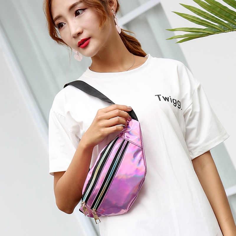 Sıcak satış moda hologram şeffaf lazer PVC PU fanny paketi toptan unisex glitter bel çantası