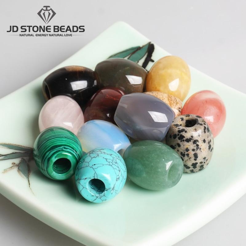 2pcs/Lot Big Hole Natural Gemstone Barrel Shape Beads for Necklace Bracelet DIY Jewelry Making Free Shipping(China)