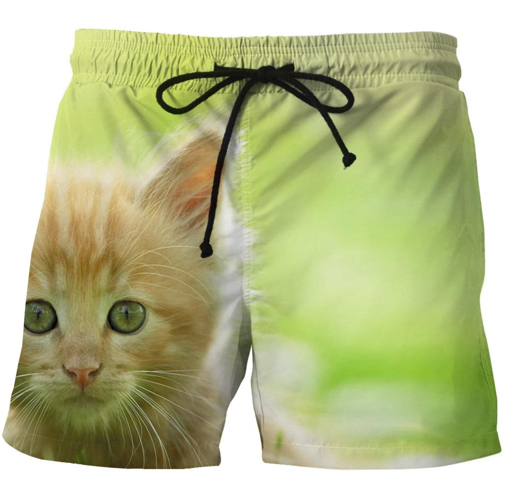 Digital Printed Men's Quick-drying Beach Shorts 3D Cartoon Cat Printed Side Pocket Casual Shorts